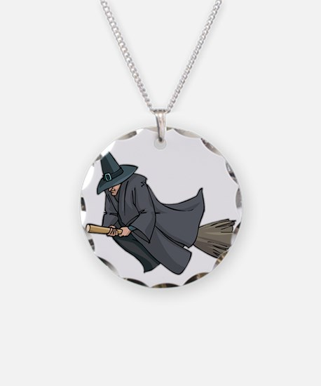 Witch on a Broom Necklace
