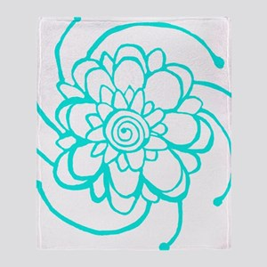 Woodblock Flower Two Turquoise Throw Blanket