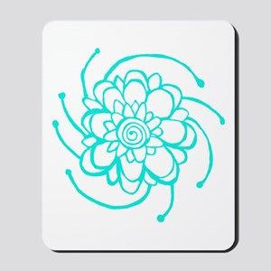 Woodblock Flower Two Turquoise Mousepad
