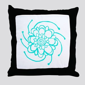Woodblock Flower Two Turquoise Throw Pillow