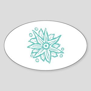 Turquoise Wood Block Fantasy Flower Sticker (Oval)