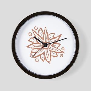 Terra Cotta Fantasy Flower Wood Block P Wall Clock