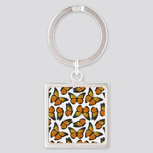 Monarch Butterfly Pattern Square Keychain