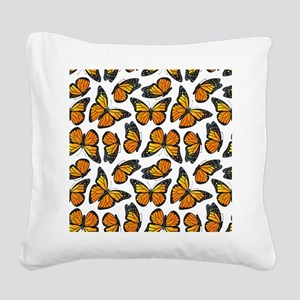 Monarch Butterfly Pattern Square Canvas Pillow