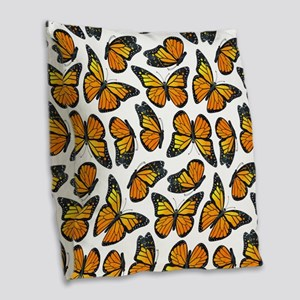 Monarch Butterfly Pattern Burlap Throw Pillow