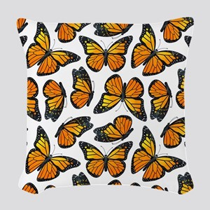 Monarch Butterfly Pattern Woven Throw Pillow
