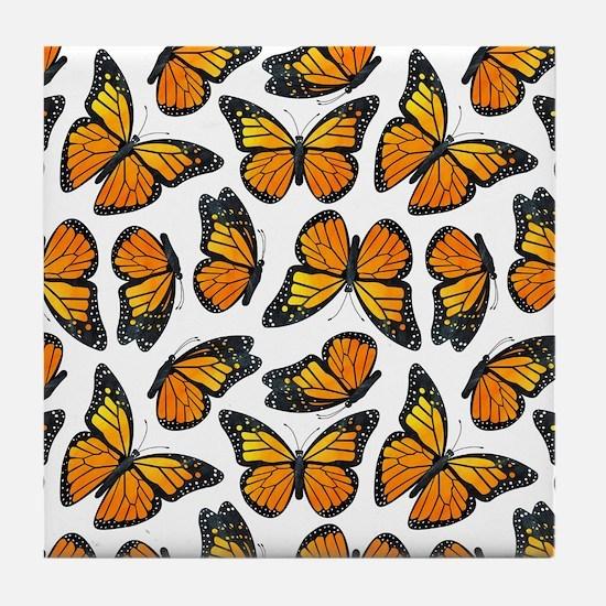 Monarch Butterfly Pattern Tile Coaster