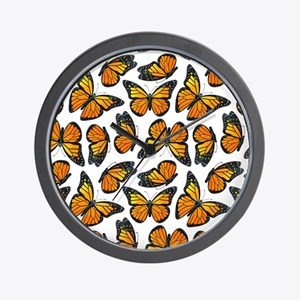 Monarch Butterfly Pattern Wall Clock