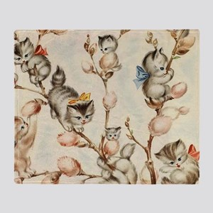 Vintage Cute Kittens Pussy Willow Throw Blanket
