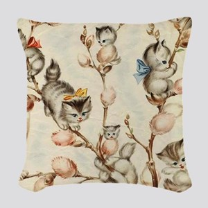 Vintage Cute Kittens Pussy Wil Woven Throw Pillow