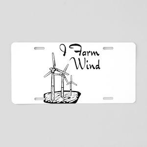 i farm wind with 3 windmills Aluminum License