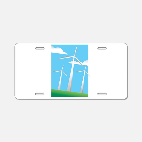 pretty windmills.png Aluminum License Plate