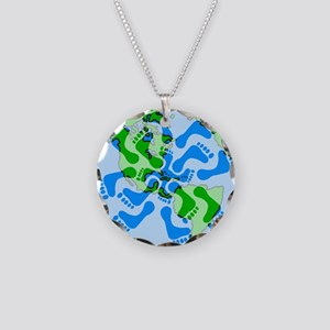 Footprint Planet Necklace Circle Charm