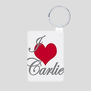 I love (heart) Carlie Aluminum Photo Keychain