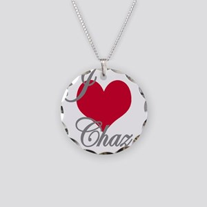 I love (heart) Chaz Necklace Circle Charm