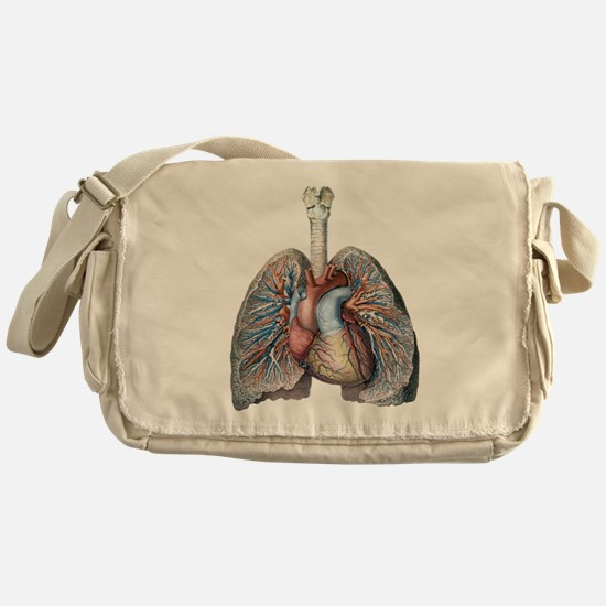 Human Anatomy Heart and Lungs Messenger Bag