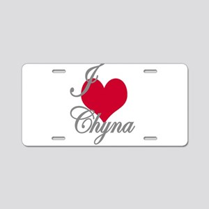 I love (heart) Chyna Aluminum License Plate
