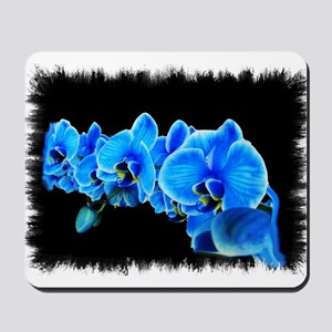 Blue orchid photo on black Mousepad