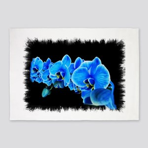 Blue orchid photo on black 5'x7'Area Rug