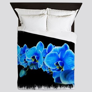 Blue orchid photo on black Queen Duvet