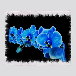 Blue orchid photo on black Throw Blanket