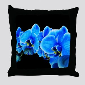 Blue orchid photo on black Throw Pillow
