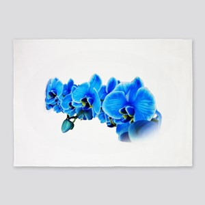 Blue orchid photo on white 5'x7'Area Rug