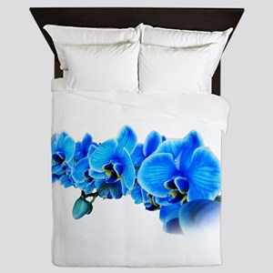 Blue orchid photo on white Queen Duvet