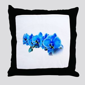 Blue orchid photo on white Throw Pillow