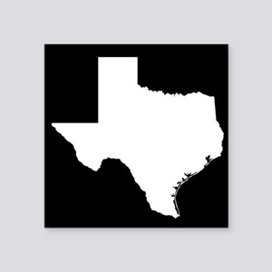 "White Texas Outline Square Sticker 3"" x 3"""