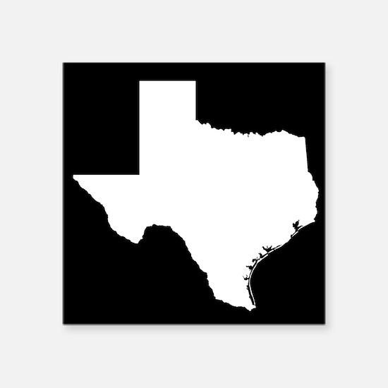 "White Texas Outline Square Sticker 3"" x 3"""