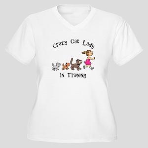 Crazy Cat Lady In Training Women's Plus Size V-Nec