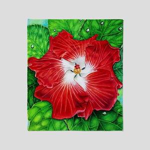 Hawaiian Hibiscus Throw Blanket