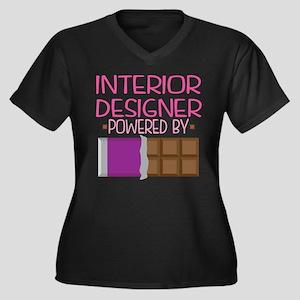 Interior Des Women's Plus Size V-Neck Dark T-Shirt