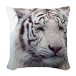 DisappearingTigerWhLG2 Woven Throw Pillow
