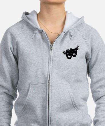 Comedy and Tragedy Theater Mask Zip Hoodie