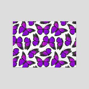 Purple Monarch Butterfly Pattern 5'x7'Area Rug
