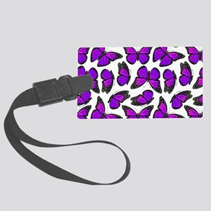 Purple Monarch Butterfly Pattern Large Luggage Tag