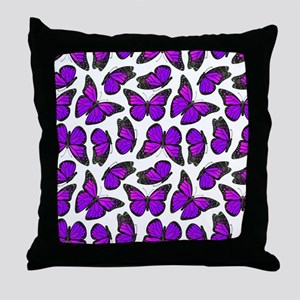 Purple Monarch Butterfly Pattern Throw Pillow