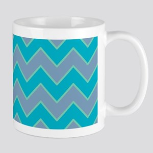 Scuba Blue and Dusk Blue Chevrons Mugs