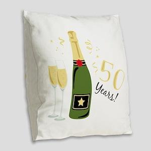 50 Years Burlap Throw Pillow