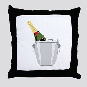 Champagne In Bucket Throw Pillow