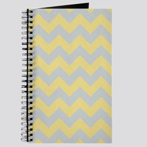 Custard Yellow and Glacier Gray Chevron Journal