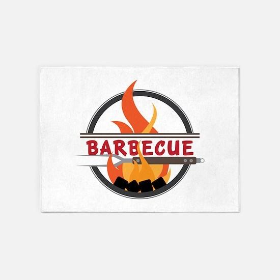 Barbecue Flame Logo 5'x7'Area Rug