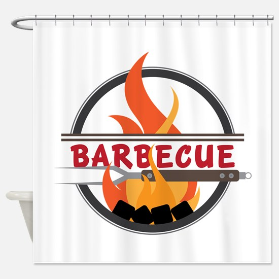 Barbecue Flame Logo Shower Curtain