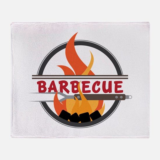 Barbecue Flame Logo Throw Blanket
