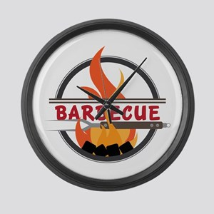 Barbecue Flame Logo Large Wall Clock