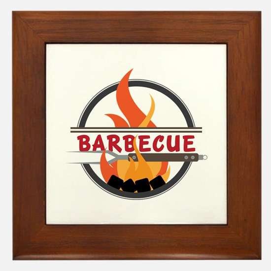 Barbecue Flame Logo Framed Tile