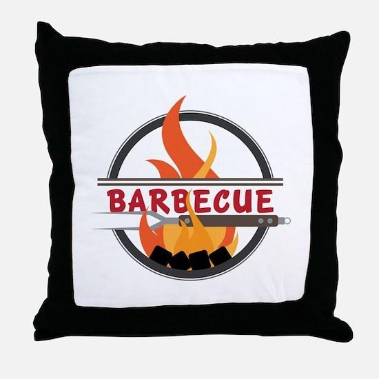 Barbecue Flame Logo Throw Pillow