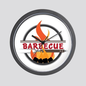 Barbecue Flame Logo Wall Clock